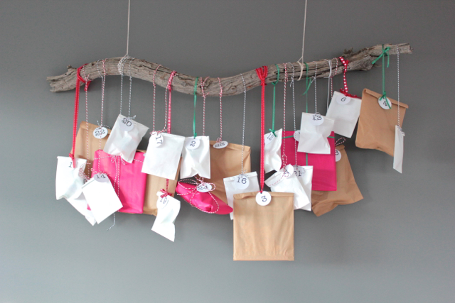 DIY advent calendar hanging branch