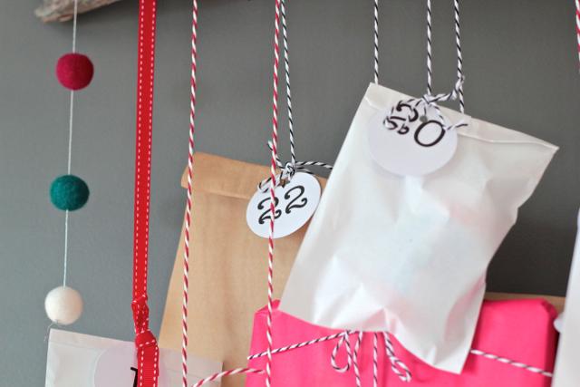 DIY advent calendar hanging
