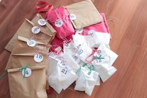 DIY advent calendar wrapped items