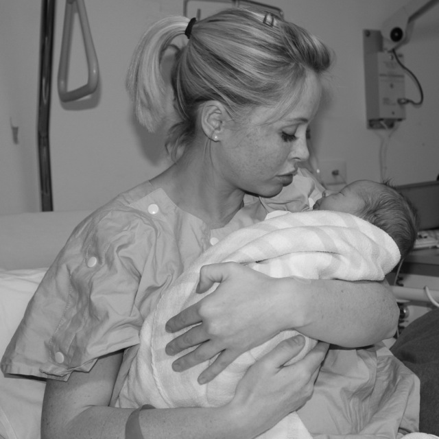 Mum and new baby in hospital