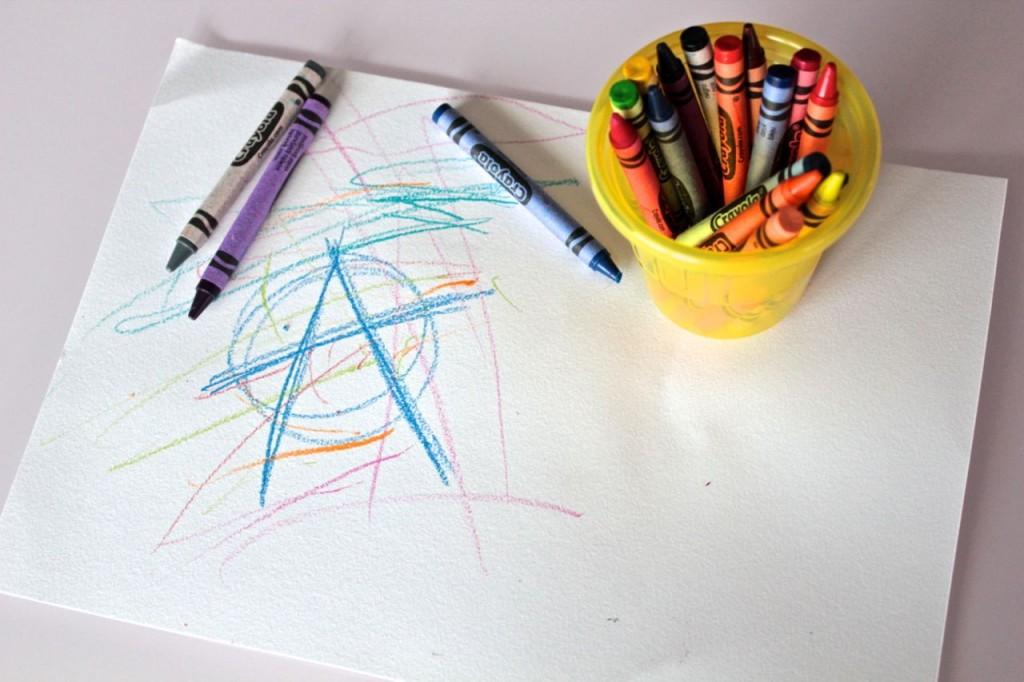 Anarchy symbol in crayon