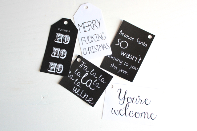 free download black and white cheeky gift tags