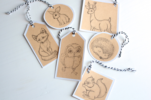 free download woodland animal christmas gift tags