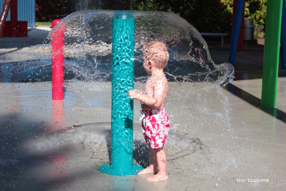 He was playing next to the pole when his daddy flicked the switch to turn it on - trapping him in a cone of water.