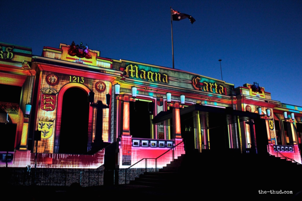 Old Parliament House lit up during Enlighten Canberra