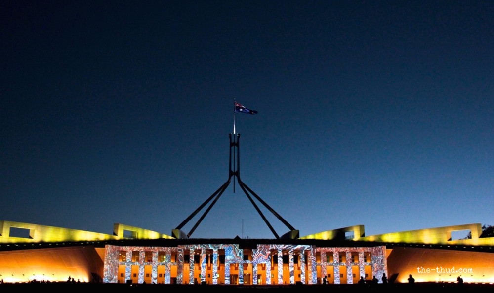 Parliament House lit up during Enlighten Canberra