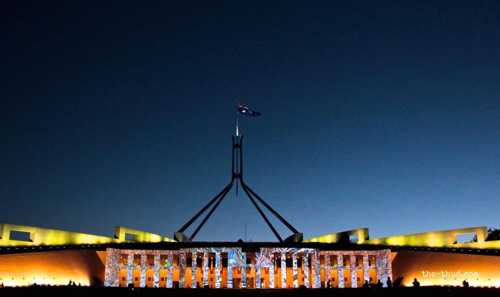 Parliament House lit up during Enlighten Canberra