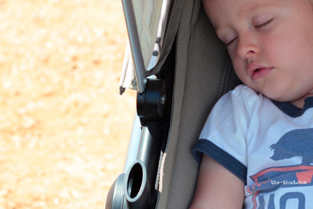I believe this may be the third time in his whole life he's fallen asleep in his pram.