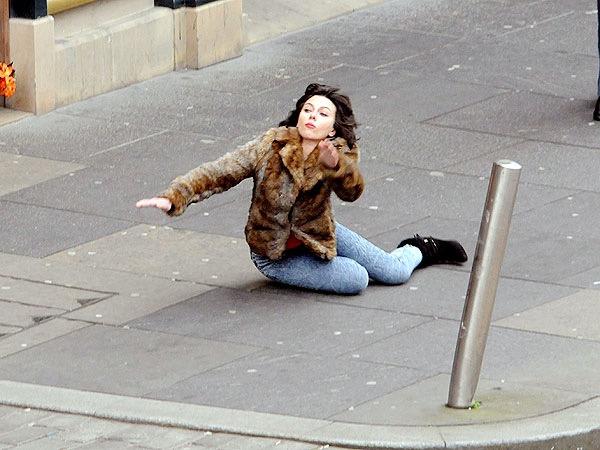 Scarlett Johansson falling over.