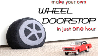 Full tutorial and pattern: How to make a car wheel doorstop or cushion in just one hour - using an old pair of sweatpants!