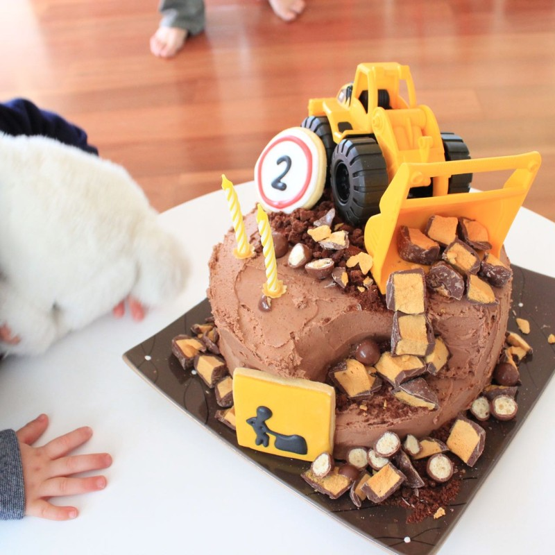 Truck cake for a construction themed 2nd birthday