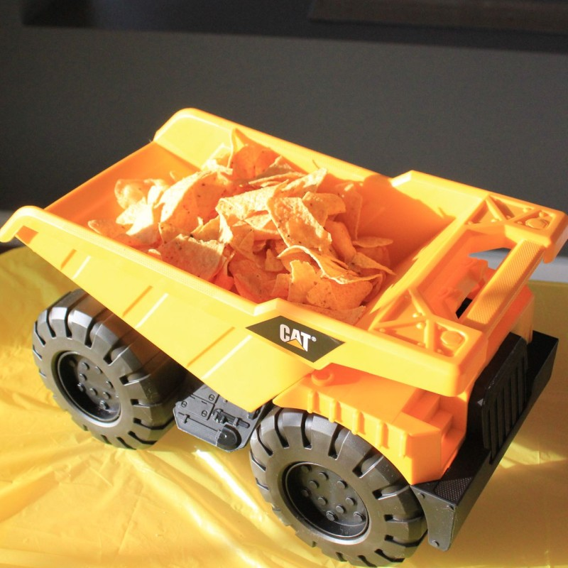 Chips in a toy truck for a construction themed 2nd birthday