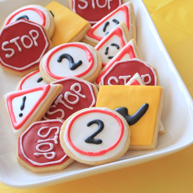 Road sign cookies for a construction themed 2nd birthday
