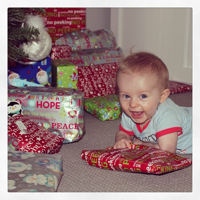 This was his first Christmas. I still haven't learnt.