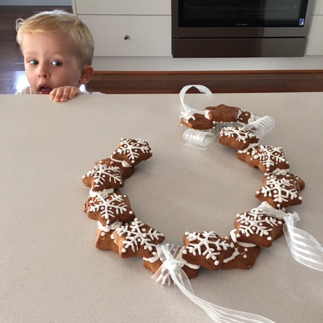 Spent all afternoon making a delicious gingerbread snowflake wreath. And then turned my back like a complete moron. Thud destroyed it in less than four seconds. It never even made it to the wall. RIP wreath...
